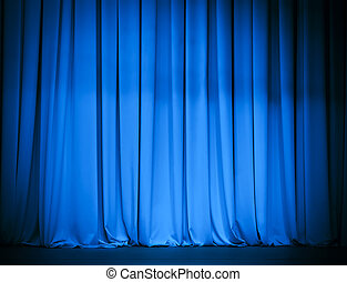teatro, cortina azul