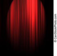 teatro, cortina, com, centro, holofote