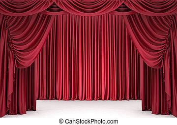 teatro, cortina, iluminado, por, um, holofote