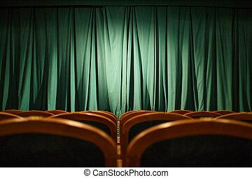 teatro, etapa, verde, cortinas