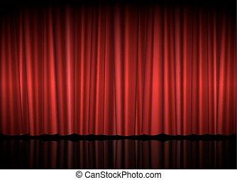 teatro, fase, com, cortina vermelha, vetorial, ilustração