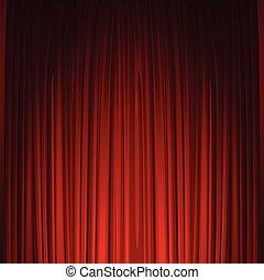 teatro, fase, com, vermelho, curtain., vetorial, ilustração