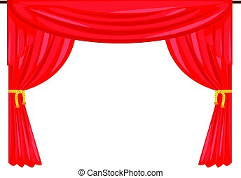 teatro, fase, cortina, cortina, vetorial, ilustração