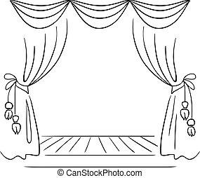 teatro, fase, vetorial, esboço