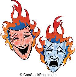 teatro, fiammeggiante, illustrazione, triste, maschere, ...