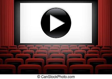 teatro filme, fundo, com, cortinas vermelhas, cadeiras, tela branca, e, jogo, símbolo., vetorial, illustration.