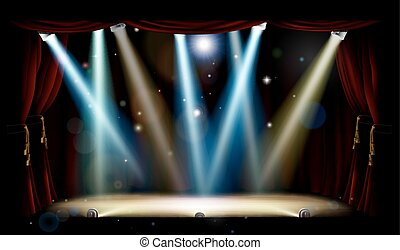 teatro, holofotes, fase