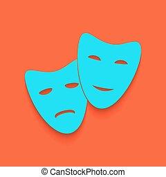teatro, icona, con, felice, e, triste, masks., vector., blu, icona, con, morbido, uggia, putted, giù, su, fenicottero, fondo.