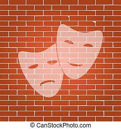teatro, icona, con, felice, e, triste, masks., vector., whitish, icona, su, muro di mattoni, come, fondo.