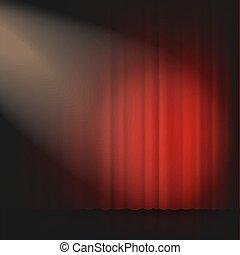 teatro, illustration., cinema, o, realistico, vettore, tenda, palcoscenico, riflettore, 3d