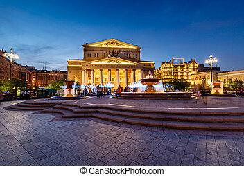 teatro, iluminado, bolshoi, moscú, fuente, noche, rusia