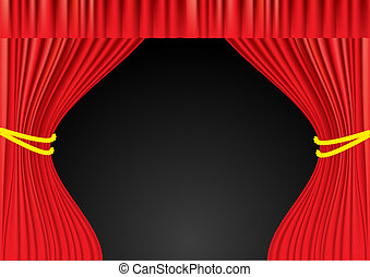 teatro, maglia, curtains., rosso