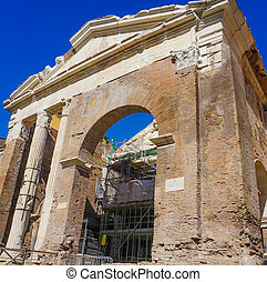 Teatro Marcello and Portico D'Ottavia Ruins in Rome Italy