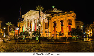 Teatro Massimo in Palermo, Sicily, Italy at night