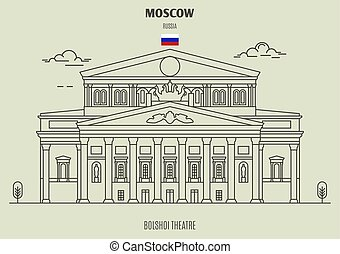 teatro, mosca, russia., punto di riferimento, bolshoi, icona