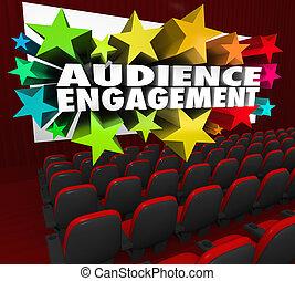 teatro, multitud, película, compromiso, audiencia, entretener, participación