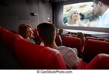 teatro, observando filme, conversa par, feliz