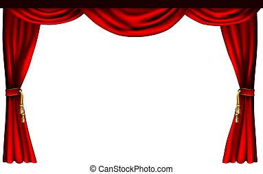 teatro, ou, cinema, cortinas