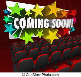 teatro, pantalla película, pronto, atracción, venida, nuevo, preestreno, remolque