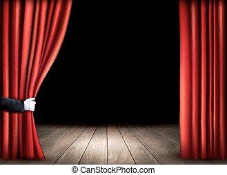 teatro, pavimento, legno, curtains., vector., aperto, rosso, palcoscenico