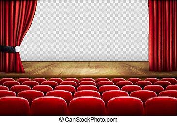 teatro, pavimento, legno, curtains., vettore, aperto, rosso, palcoscenico