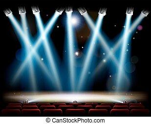 teatro, riflettori, palcoscenico