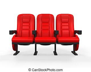 teatro, rojo, asiento