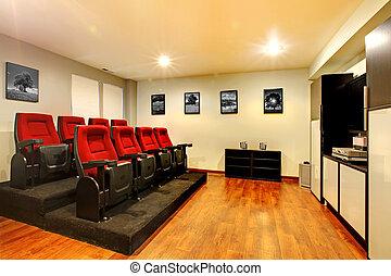 teatro, sala, entretenimento, tv, filme, interior., lar