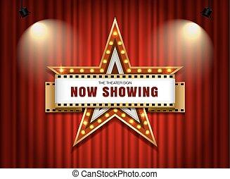 teatro, sinal, estrela