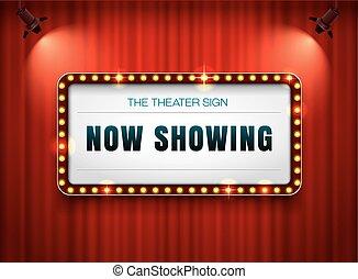 teatro, sinal, ligado, cortina