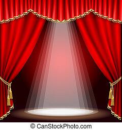 teatro, stage., mesh.
