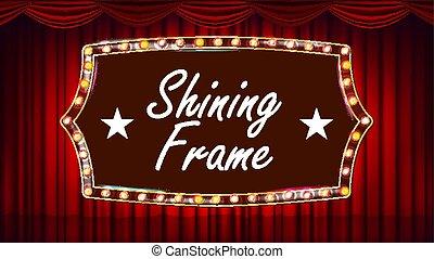 teatro, tenda, cornice, lampadine, vector., blu, fondo., seta blu, textile., lucente, retro, luce, banner., oro, frame., realistico, vendemmia, illustrazione