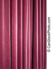 teatro, terciopelo, cortina roja