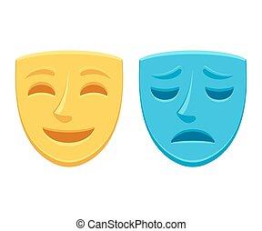 teatro, triste, maschera, felice