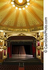 teatro, vecchio, palcoscenico vuoto