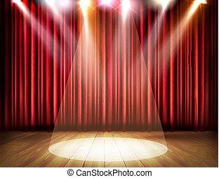 teatro, vector., spotlight., tenda, rosso, palcoscenico