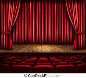 teatro, vermelho, vector., assentos, spotlight., cortina, ...