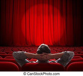 teatro, vestíbulo, sentado, hombre, cine, solamente, vacío, ...