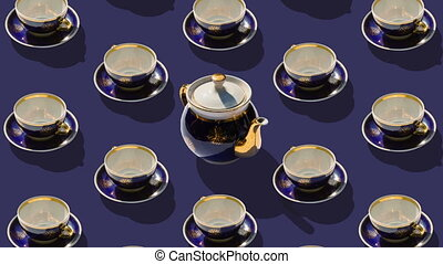 Teaware set - Many cups of tea and one teapot in the center...