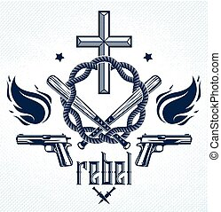 TeBe_a261 - Gangster thug emblem or logo with Christian...