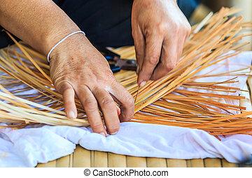 tecendo, padrão, mão, bambu, bambu, tecer