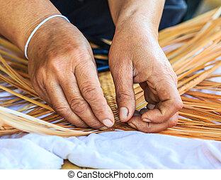tecer, padrão, mão, bambu, bambu, tecendo