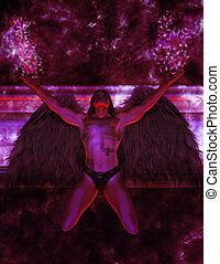Tech Angel - Angel kneeling looking up toward the sky