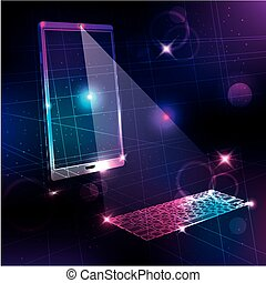 Tech background, smartphone, projection computer keyboard.
