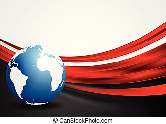 Tech background with globe and red shiny waves