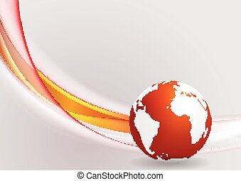 Tech background with globe and smooth waves