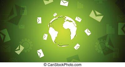 tech, bandeira, com, letras, envelopes, ao redor, globo