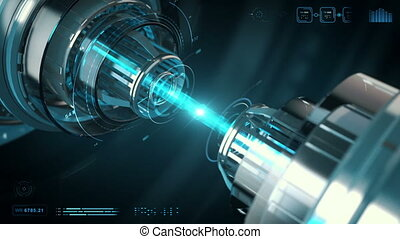Tech Beam - A laser beam being created by future technology.