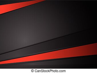 Tech black background with contrast red stripes. Abstract...