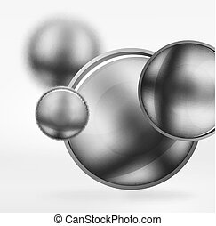 Tech blurred spheres and round circles with glossy and...
